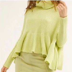 FREE PEOPLE Key Lime Oversized Peplum Sweater $128